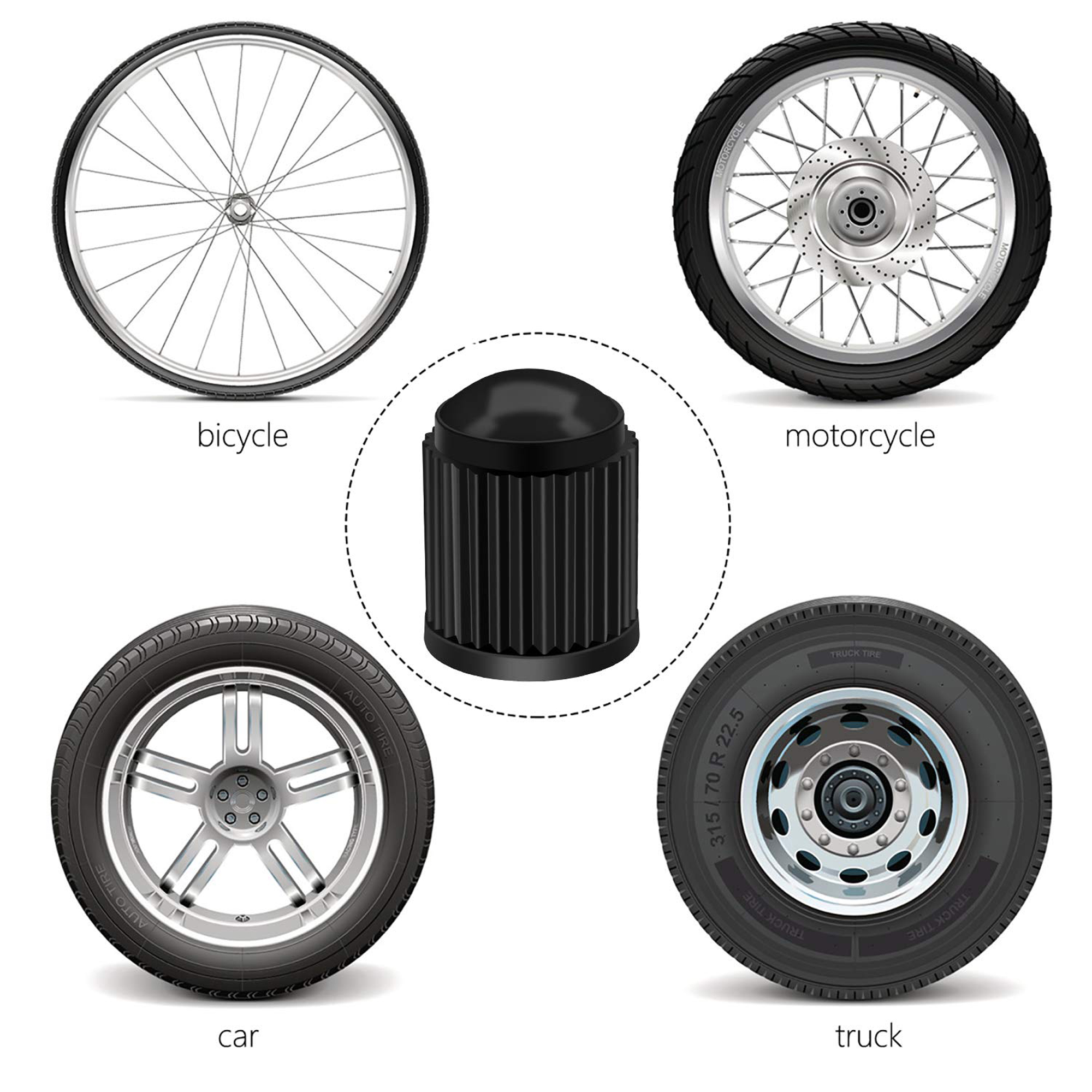 4x Blue Plastic Tyre Tire Alloy Wheel Dust Valve Caps Universal Car Bike Cycle